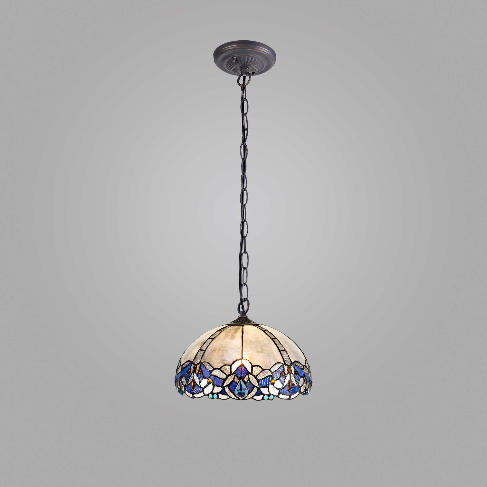 1 Light Downlight Pendant E27 With 30cm Tiffany Shade, Blue/Clear Crystal/Aged Antique Brass
