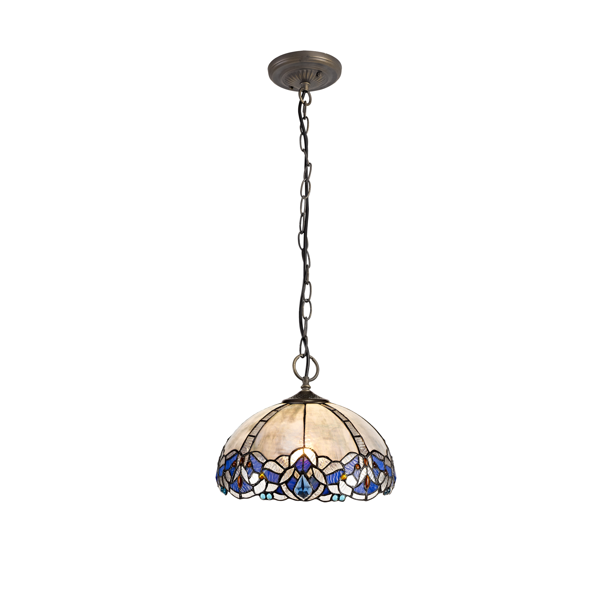 3 Light Downlight Pendant E27 With 30cm Tiffany Shade, Blue/Clear Crystal/Aged Antique Brass