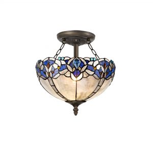 2 Light Semi Ceiling E27 With 30cm Tiffany Shade, Blue/Clear Crystal/Aged Antique Brass