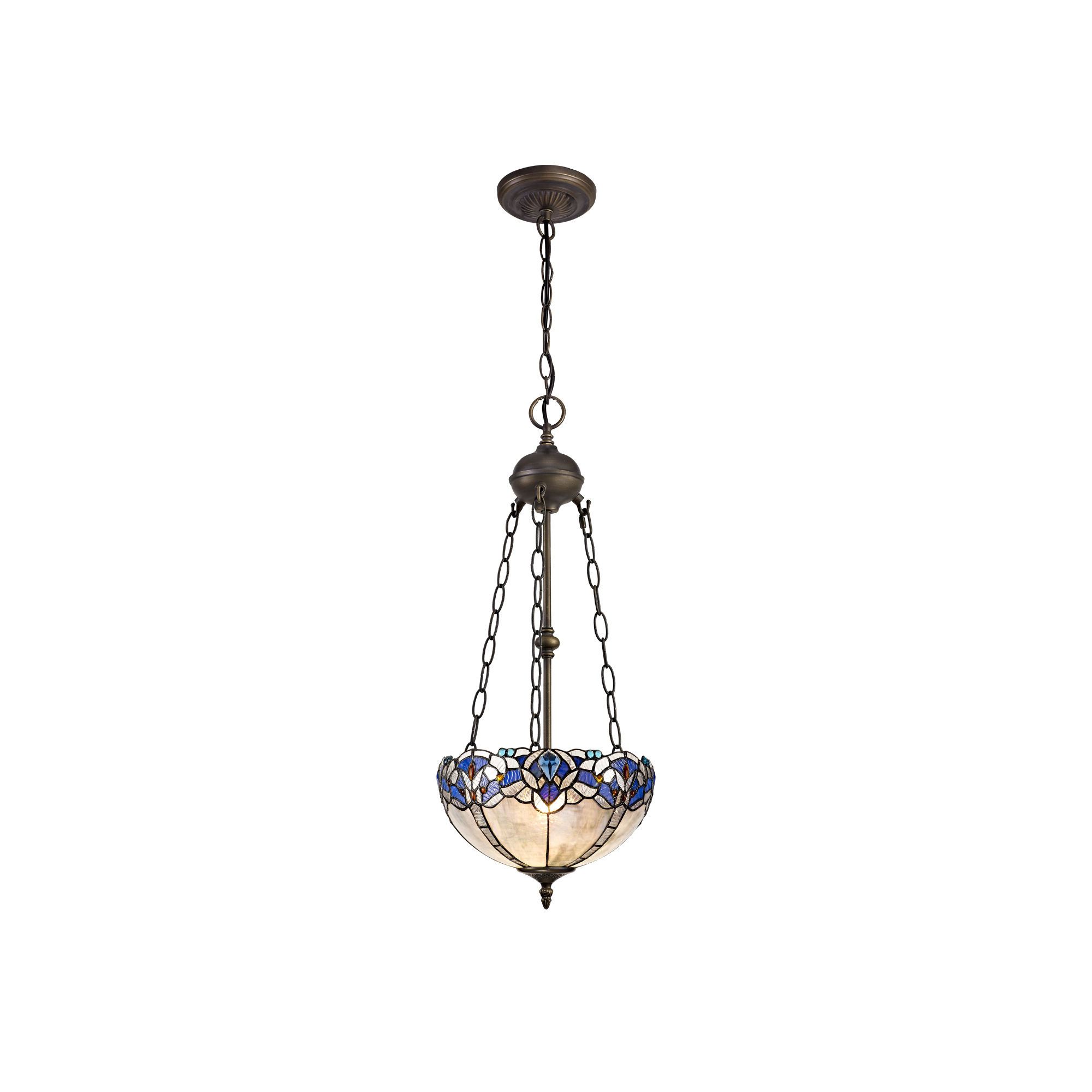 2 Light Uplighter Pendant E27 With 30cm Tiffany Shade, Blue/Clear Crystal/Aged Antique Brass