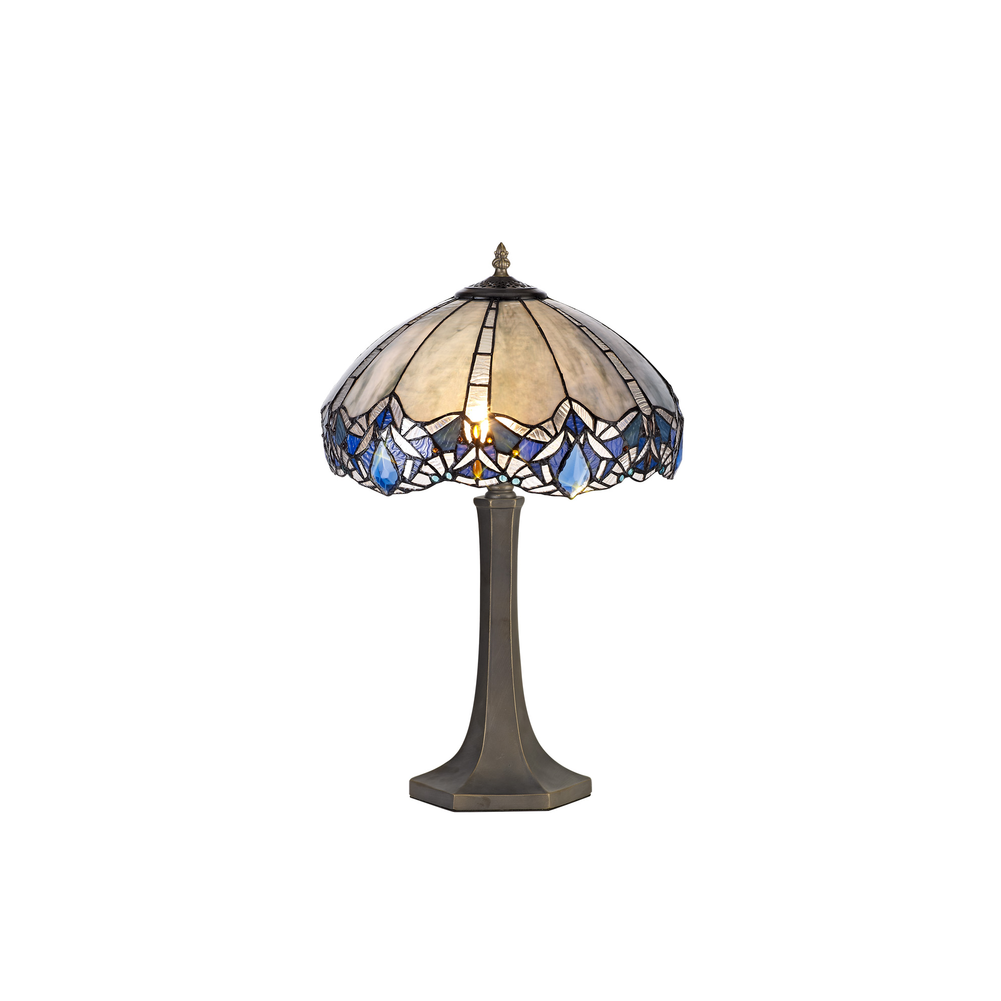 2 Light Octagonal Table Lamp E27 With 40cm Tiffany Shade, Blue/Clear Crystal/Aged Antique Brass