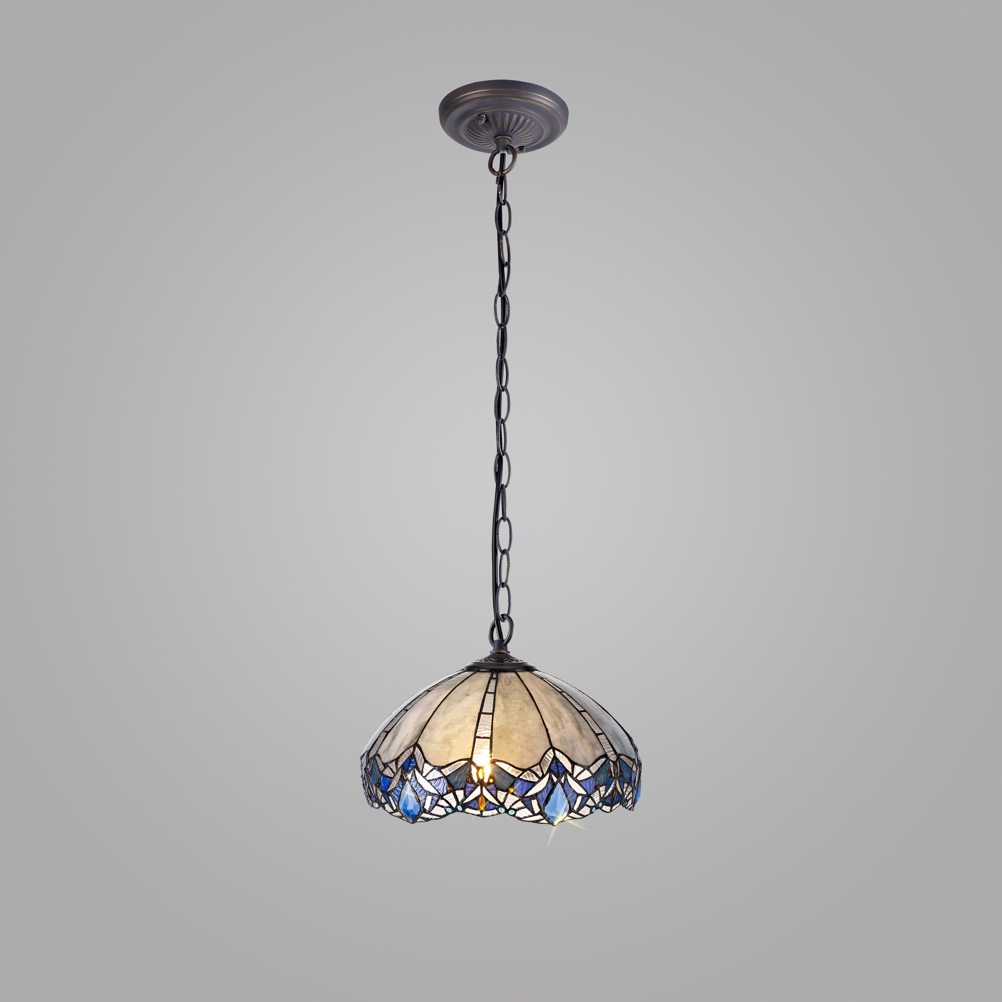1 Light Downlight Pendant E27 With 40cm Tiffany Shade, Blue/Clear Crystal/Aged Antique Brass