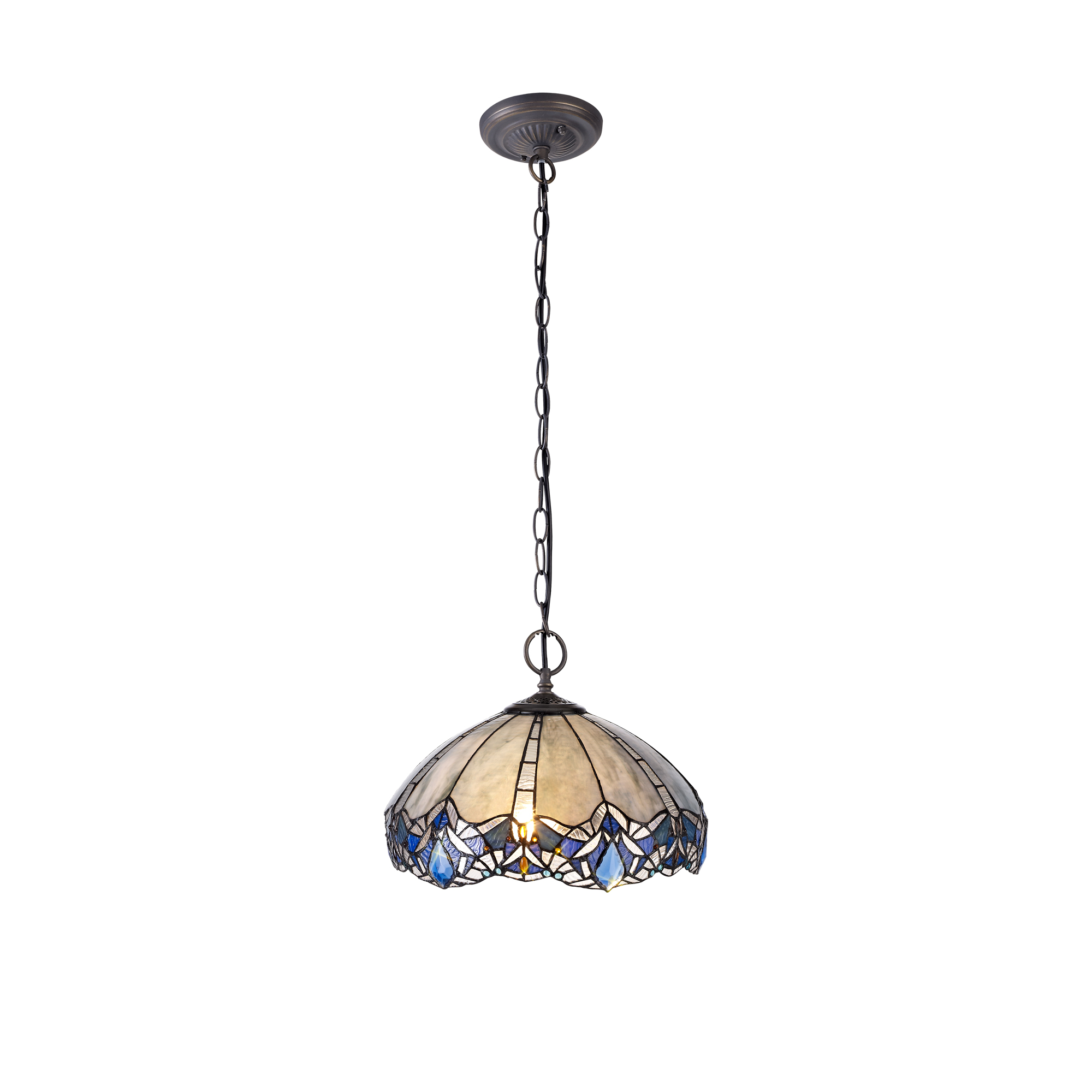 2 Light Downlight Pendant E27 With 40cm Tiffany Shade, Blue/Clear Crystal/Aged Antique Brass