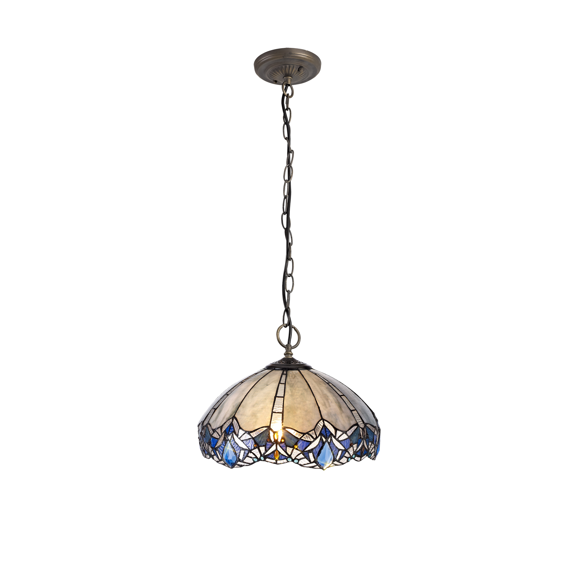 3 Light Downlight Pendant E27 With 40cm Tiffany Shade, Blue/Clear Crystal/Aged Antique Brass