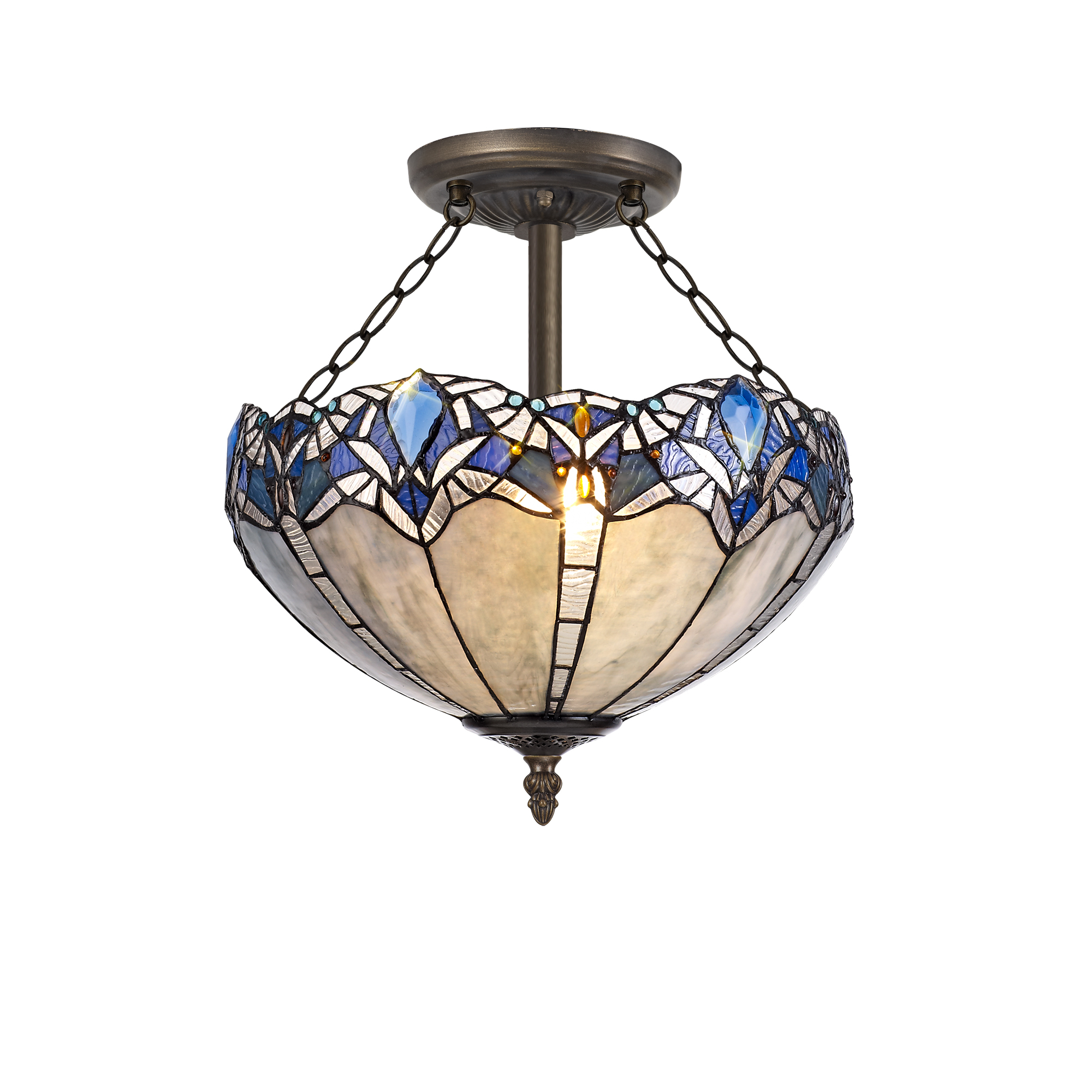 3 Light Semi Ceiling E27 With 40cm Tiffany Shade, Blue/Clear Crystal/Aged Antique Brass