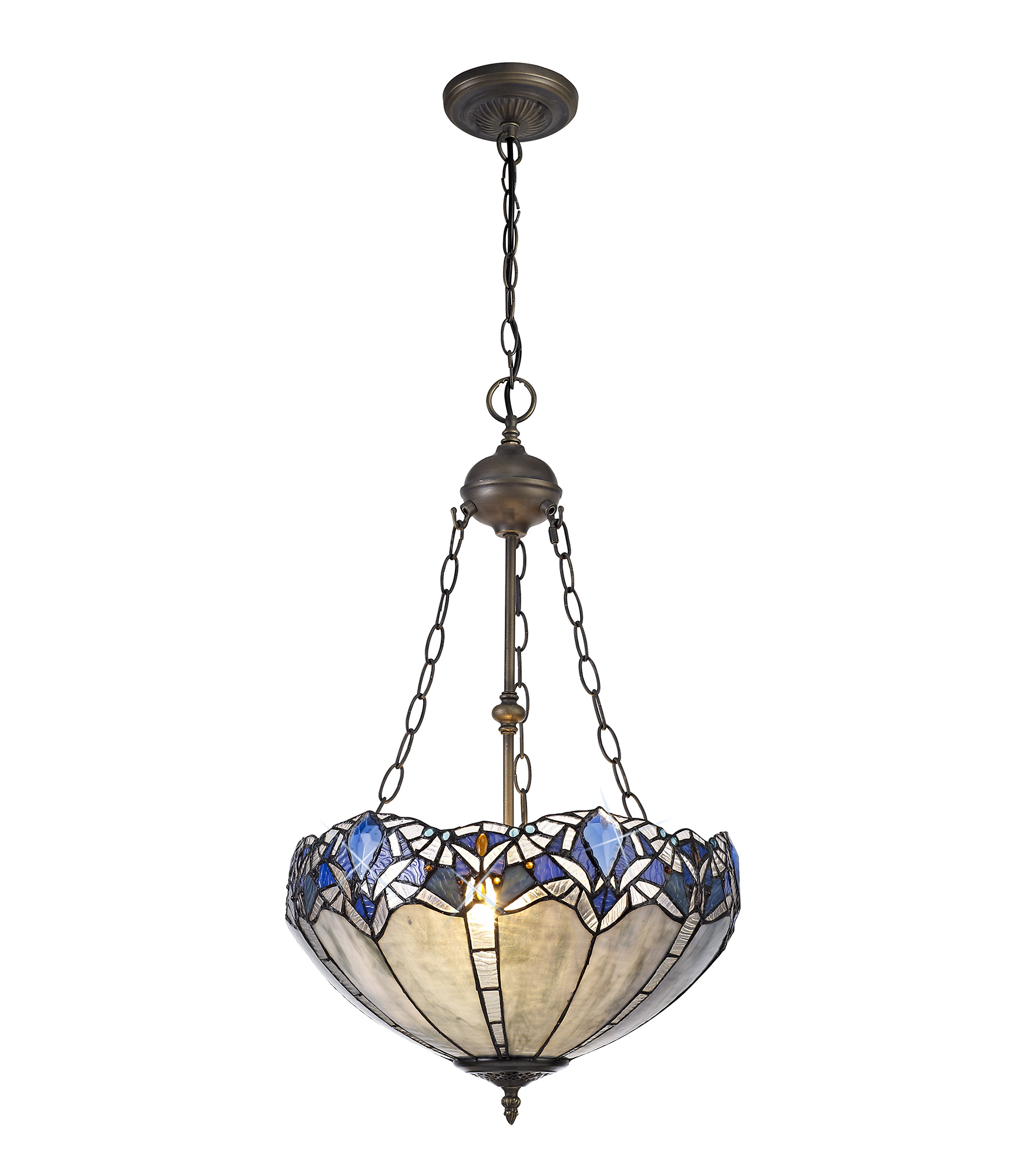 2 Light Uplighter Pendant E27 With 40cm Tiffany Shade, Blue/Clear Crystal/Aged Antique Brass