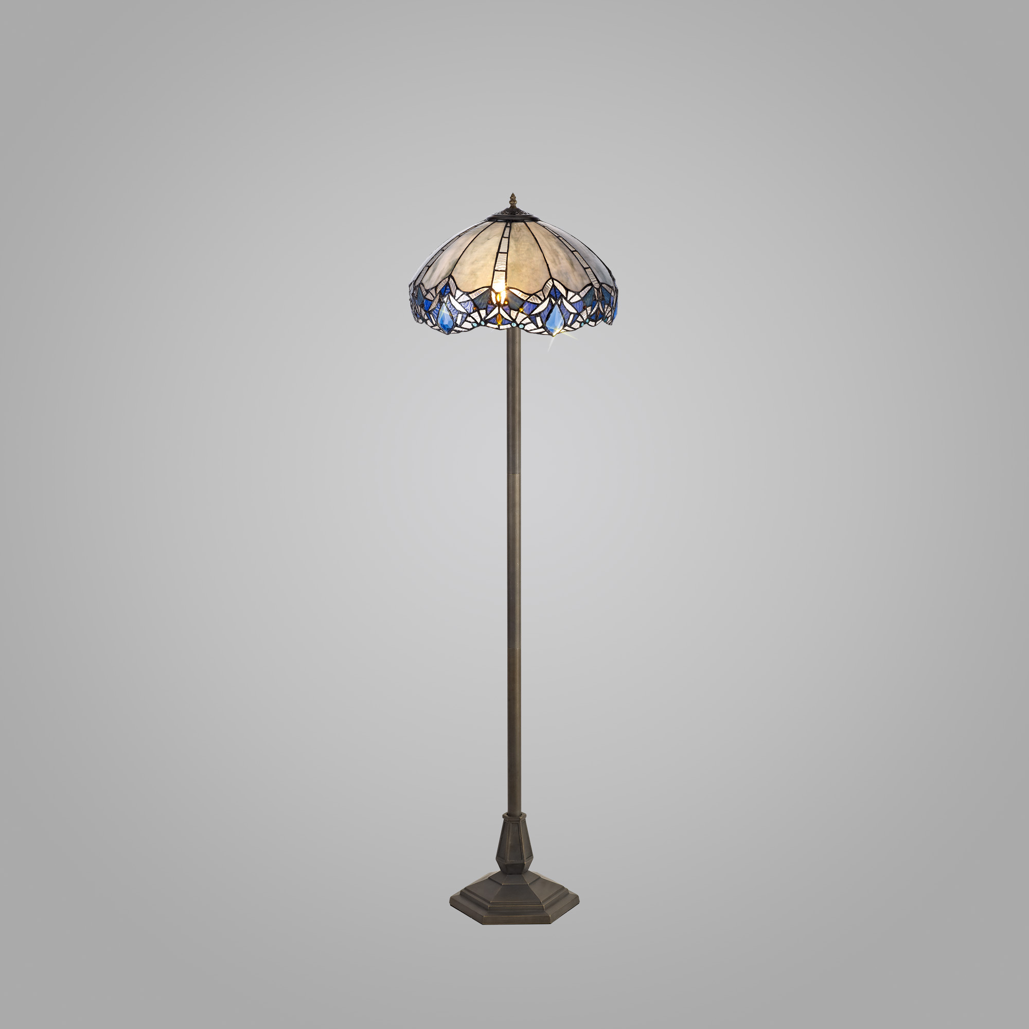2 Light Octagonal Floor Lamp E27 With 40cm Tiffany Shade, Blue/Clear Crystal/Aged Antique Brass