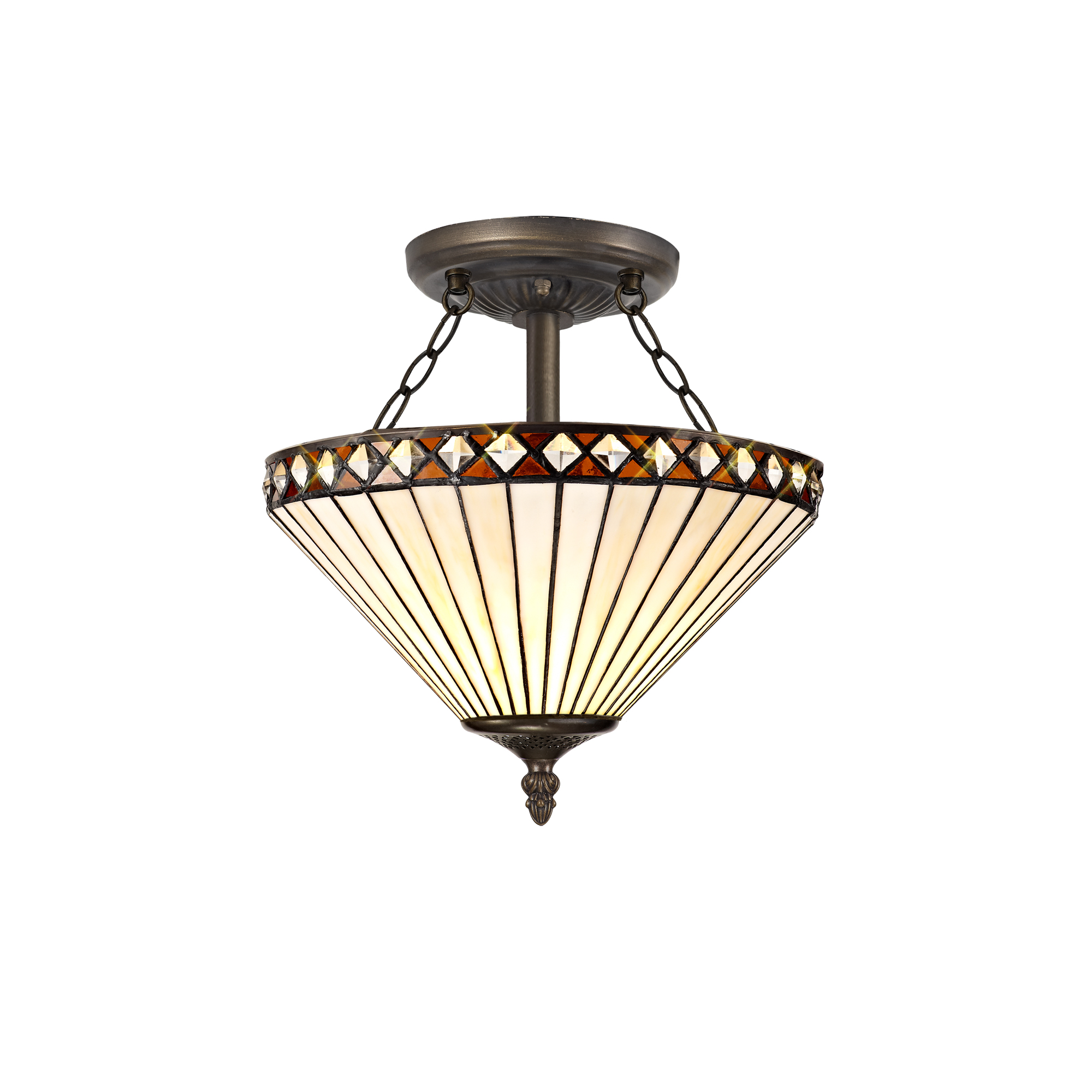 2 Light Semi Ceiling E27 With 30cm Tiffany Shade, Amber/C/Crystal/Aged Antique Brass