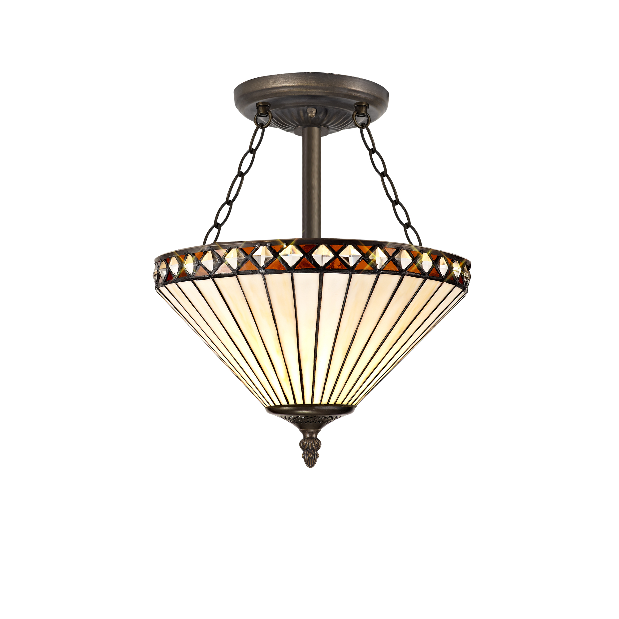 3 Light Semi Ceiling E27 With 30cm Tiffany Shade, Amber/C/Crystal/Aged Antique Brass