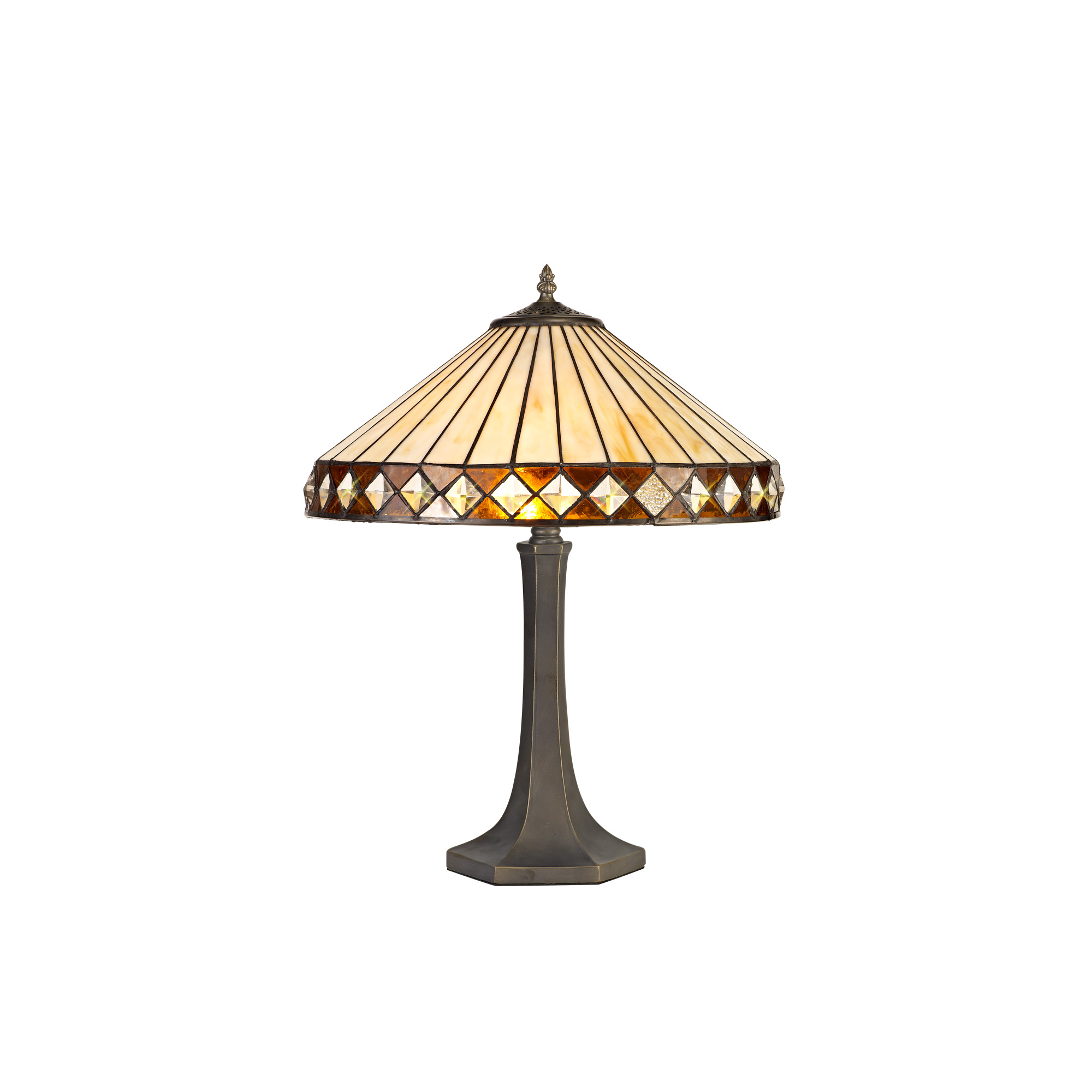 2 Light Octagonal Table Lamp E27 With 40cm Tiffany Shade, Amber/C/Crystal/Aged Antique Brass
