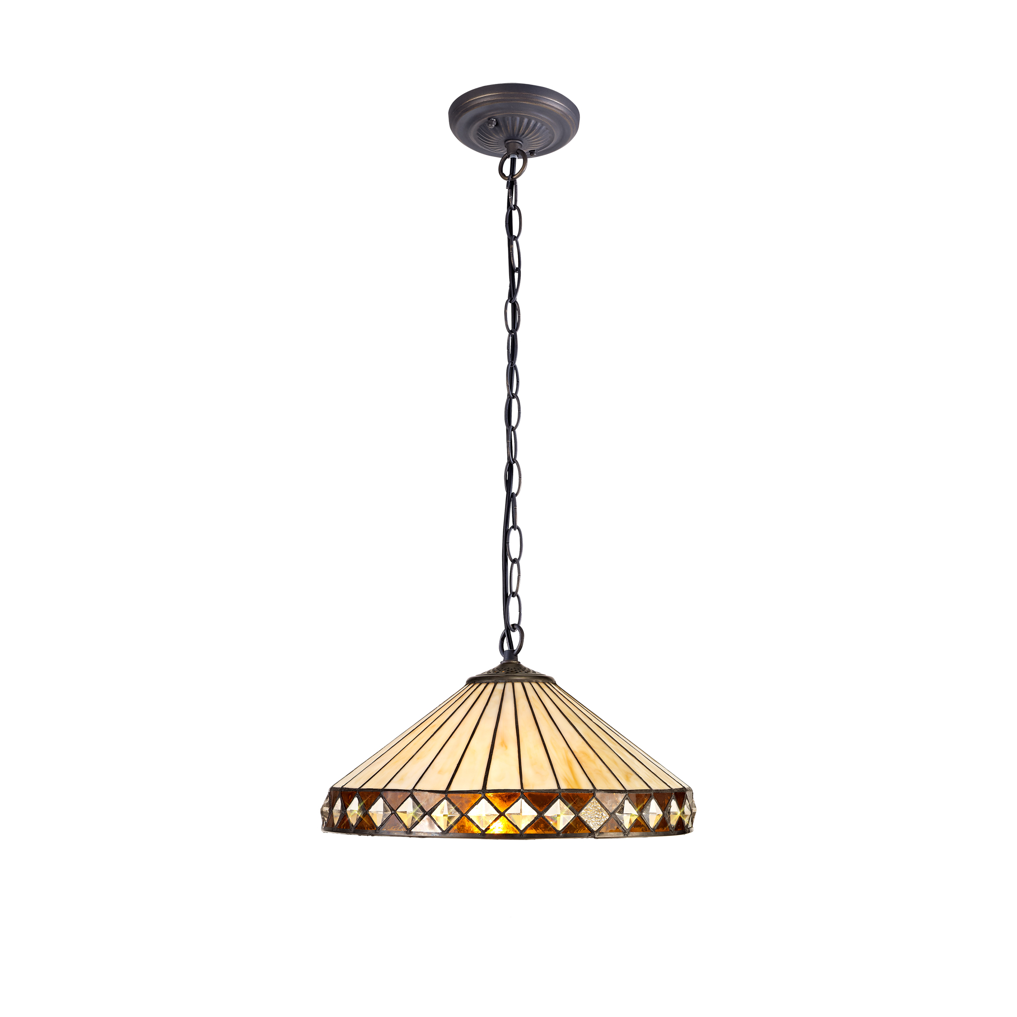 1 Light Downlighter Pendant E27 With 40cm Tiffany Shade, Amber/C/Crystal/Aged Antique Brass