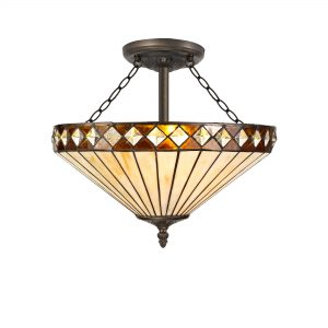 3 Light Semi Ceiling E27 With 40cm Tiffany Shade, Amber/C/Crystal/Aged Antique Brass