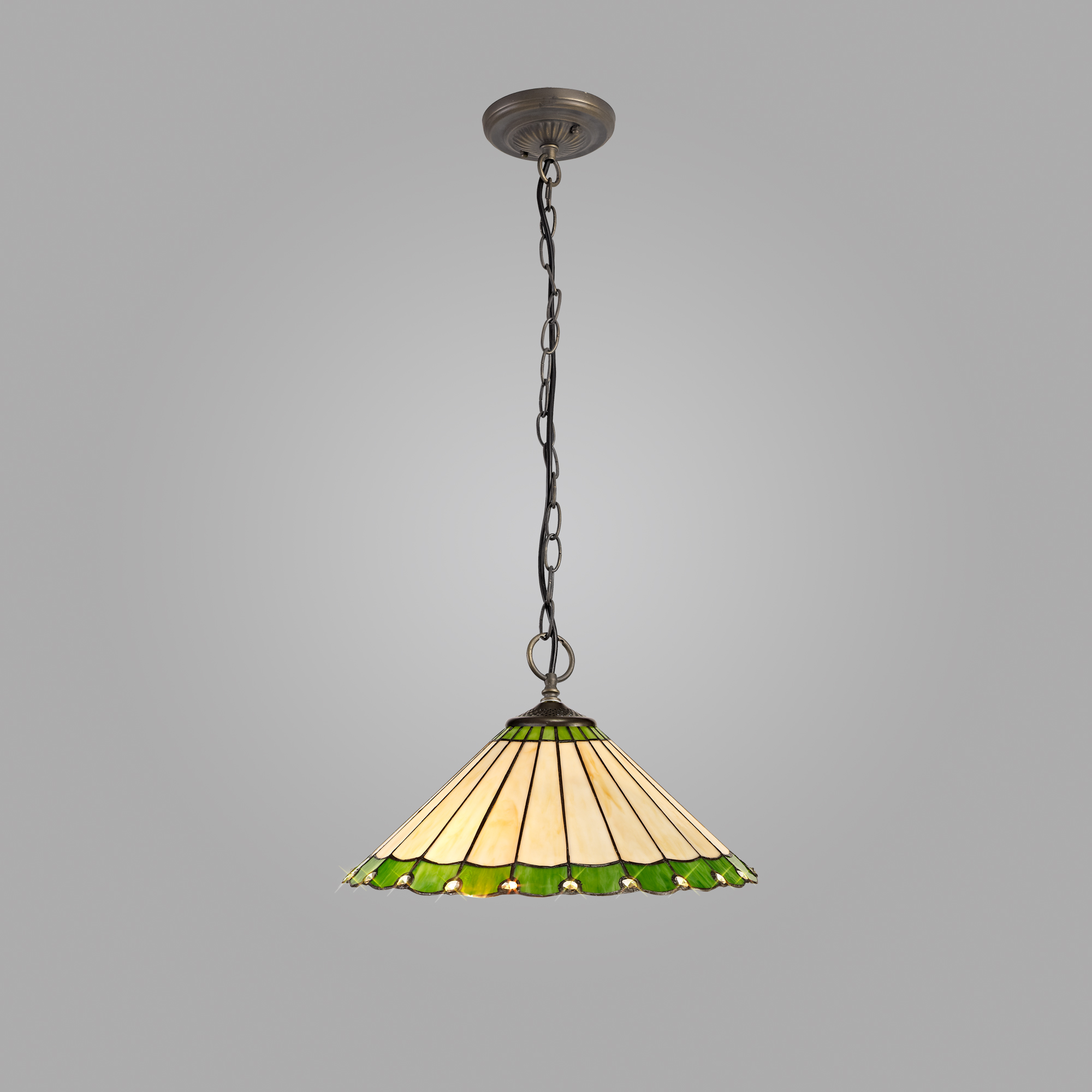 3 Light Downlighter Pendant E27 With 40cm Tiffany Shade