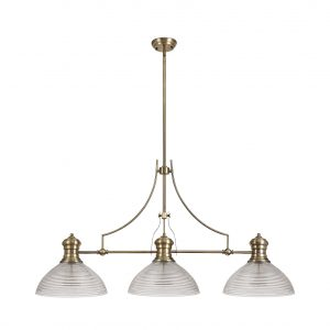 3 Light Linear Pendant E27 With 33.5cm Prismatic Glass Shade
