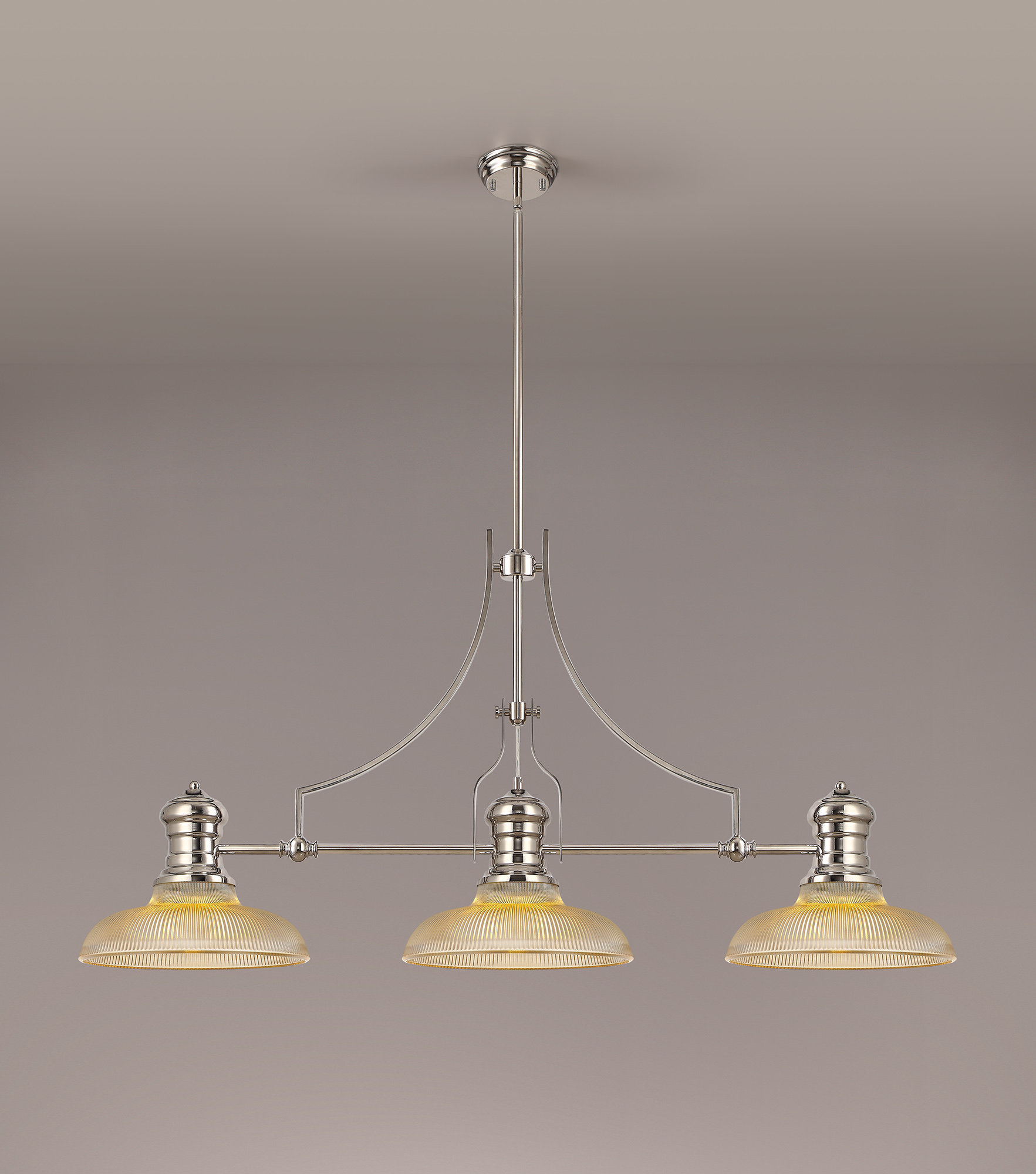 3 Light Linear Pendant E27 With 30cm Round Glass Shade