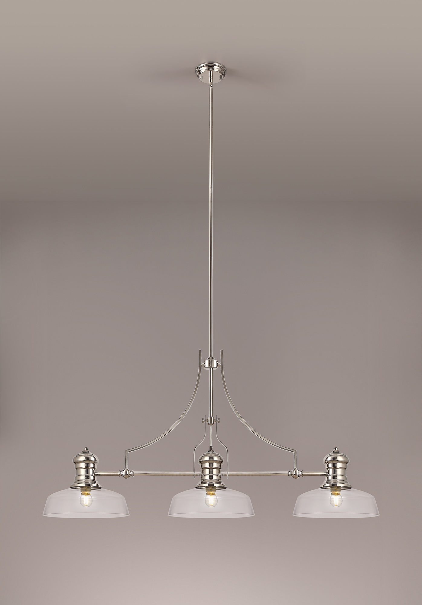 3 Light Linear Pendant E27 With 30cm Flat Round Glass Shade