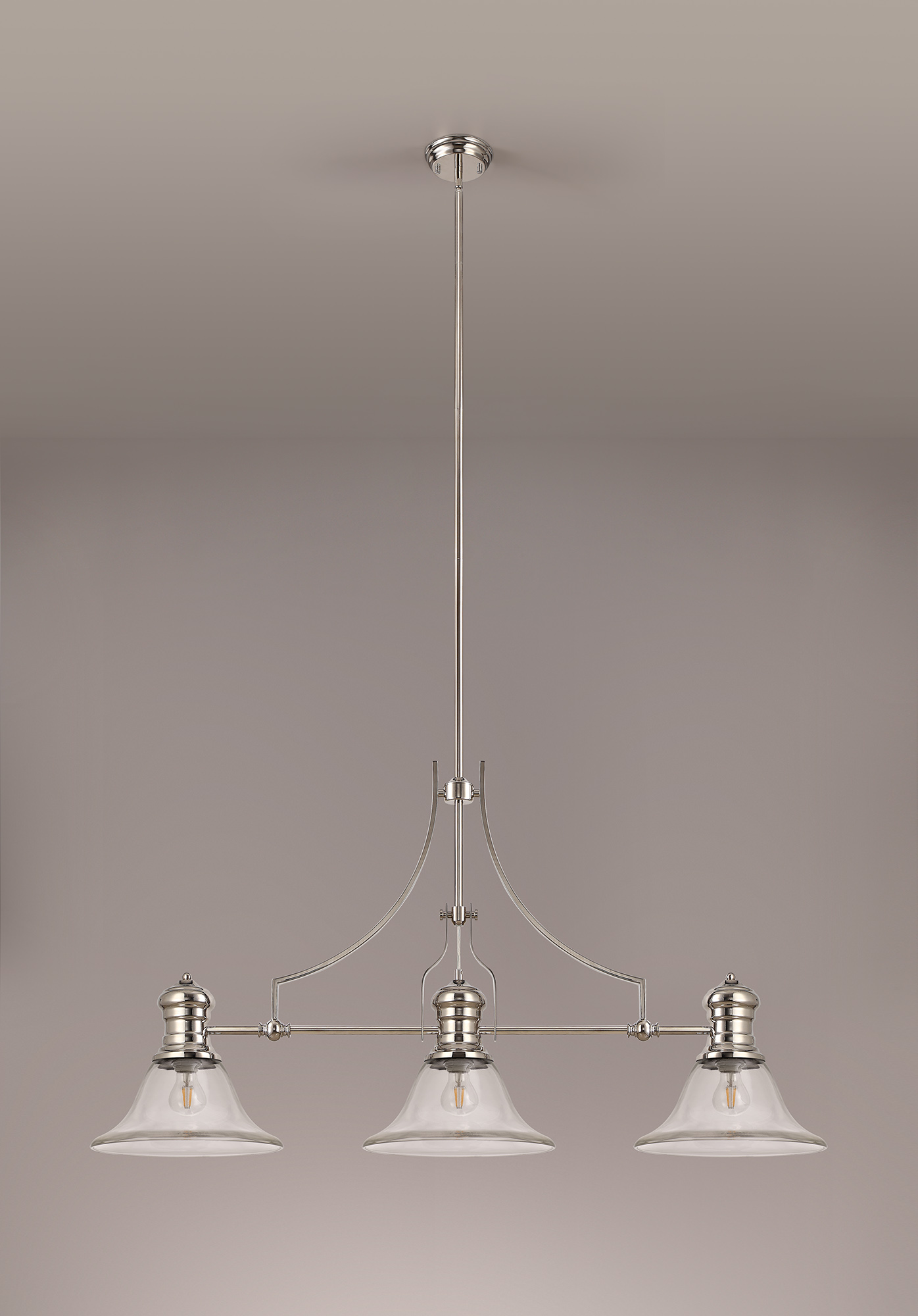 3 Light Linear Pendant E27 With 30cm Smooth Bell Glass Shade