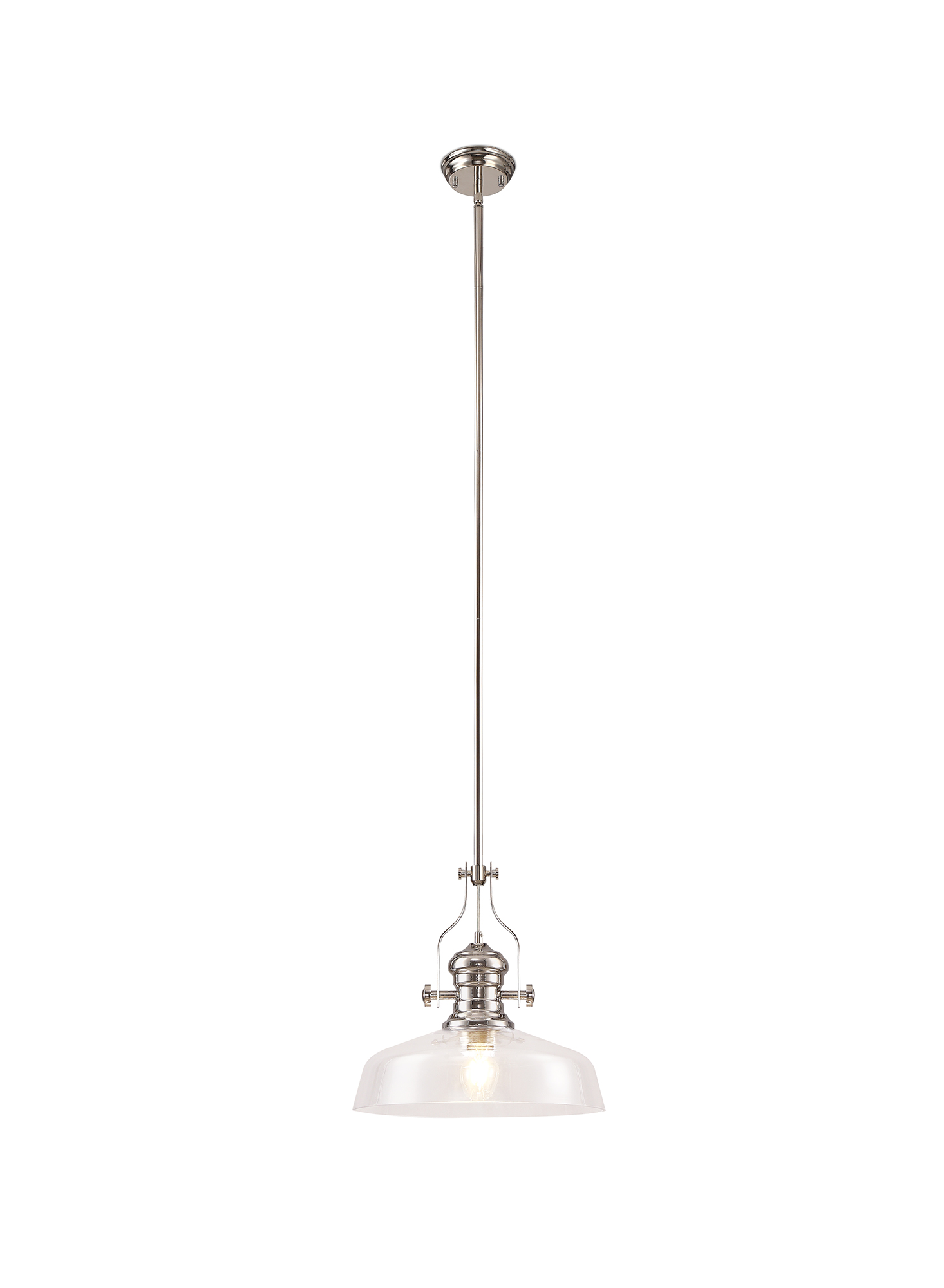 Pendant With 38cm Flat Round Shade, 1 x E27