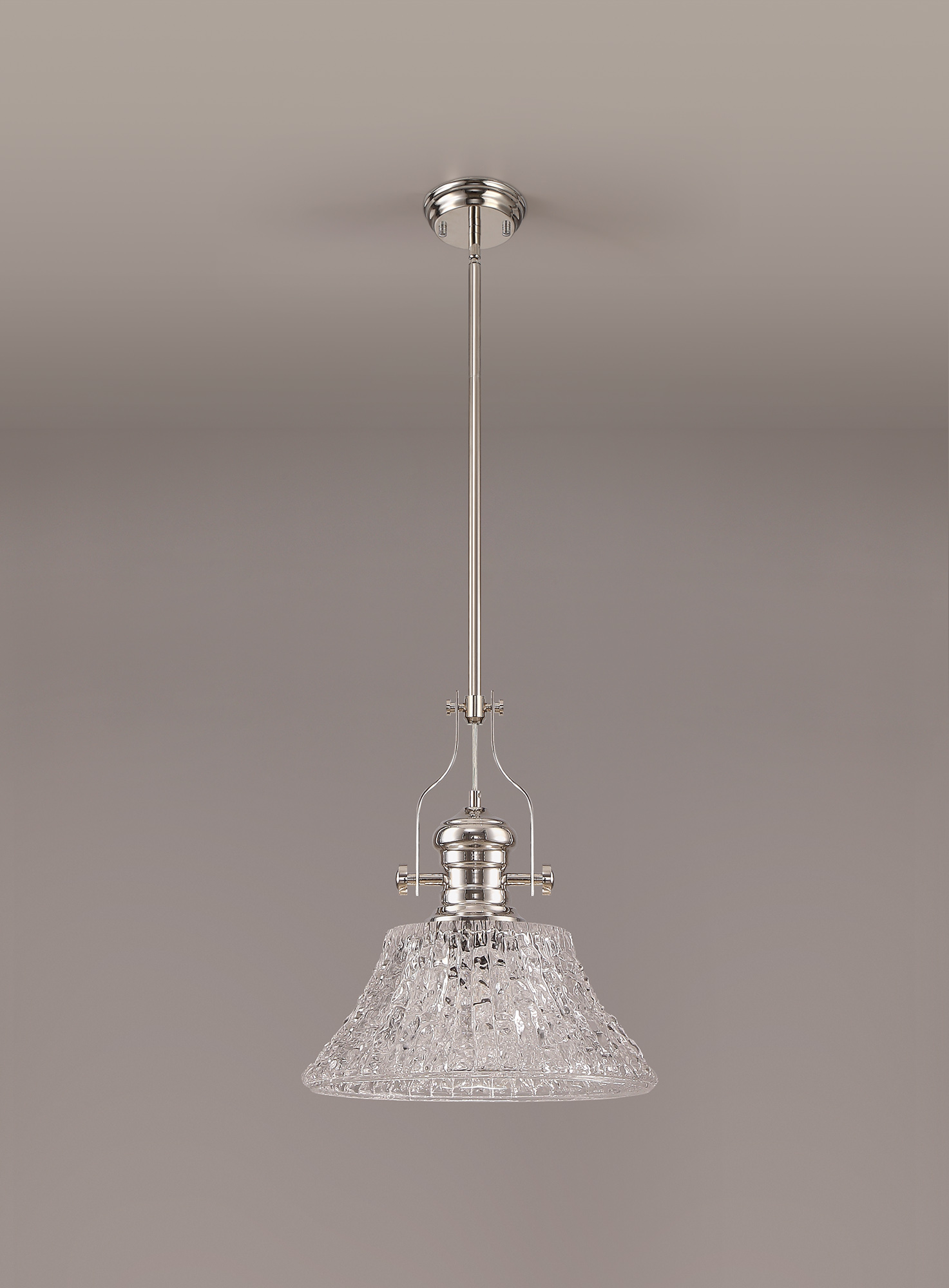 Pendant With 38cm Patterned Round Shade, 1 x E27