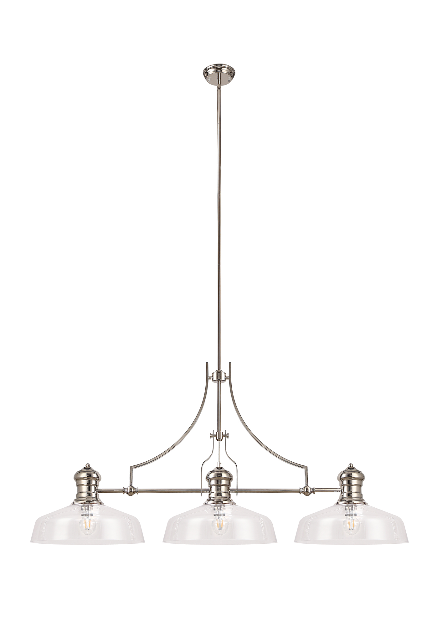 Linear Pendant With 38cm Flat Round Shade, 3 x E27