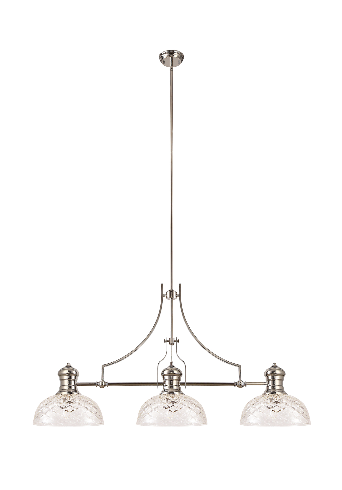 Linear Pendant With 30cm Flat Round Patterned Shade, 3 x E27